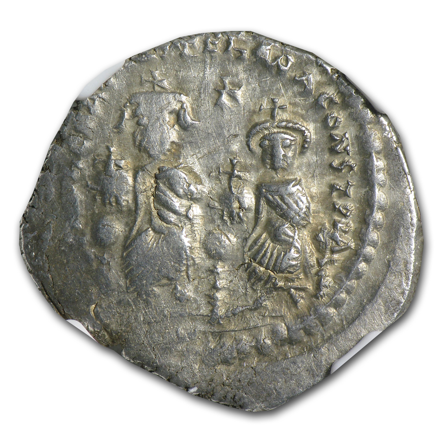 Byzantine Silver HeracIius & H.Const. Ch-VF NGC (613-641 AD)