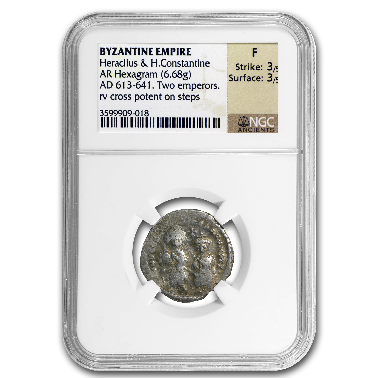 Byzantine Silver of HeracIius & H.Const. (613-641 AD) NGC-Fine