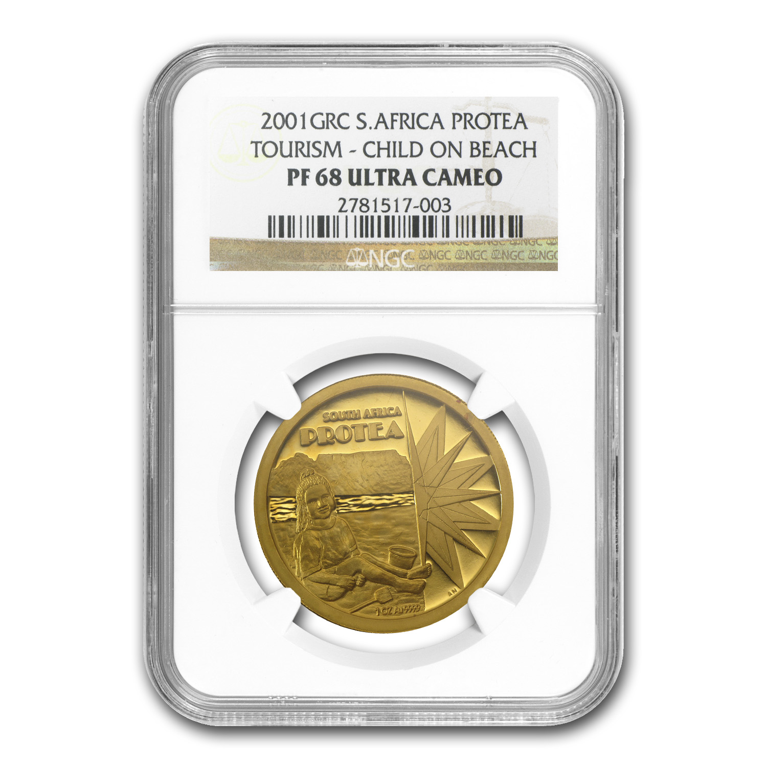 2001 South African Gold 1 oz Protea Tourism (PF-68 UCAM NGC)