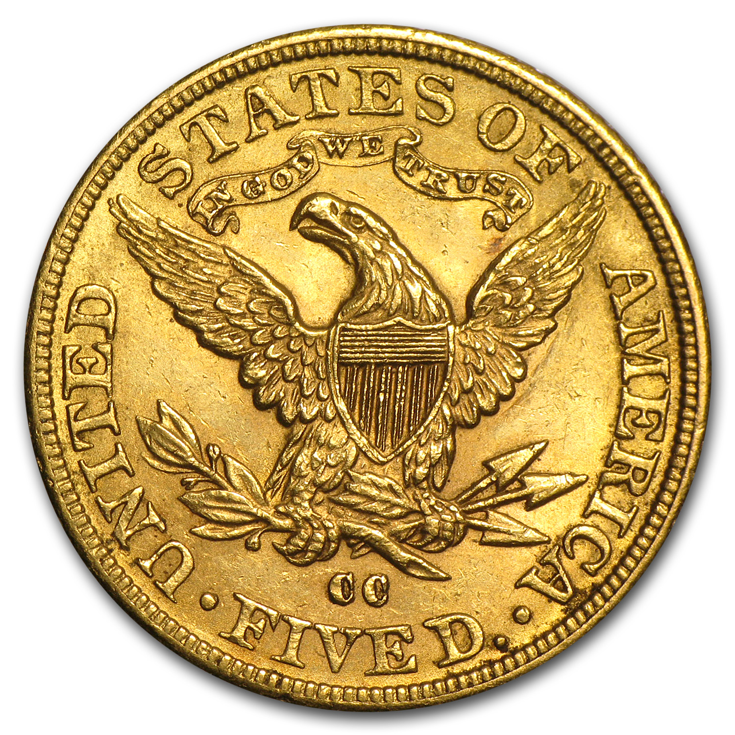 1891-CC $5 Liberty Gold Half Eagle Unc Details (Cleaned)