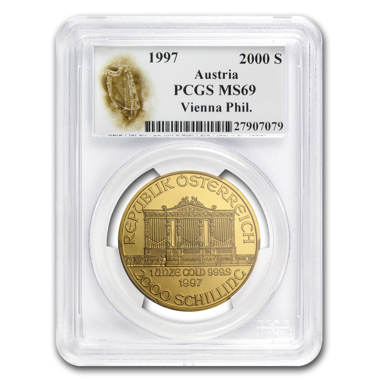 1997 Austria 1 oz Gold Philharmonic MS-69 PCGS