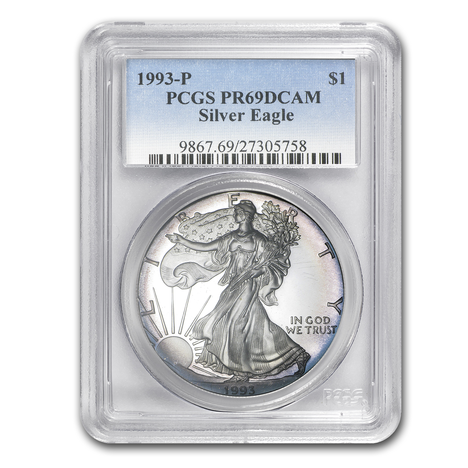 1993-P Proof Silver American Eagle PR-67 PCGS (Attractive Color)