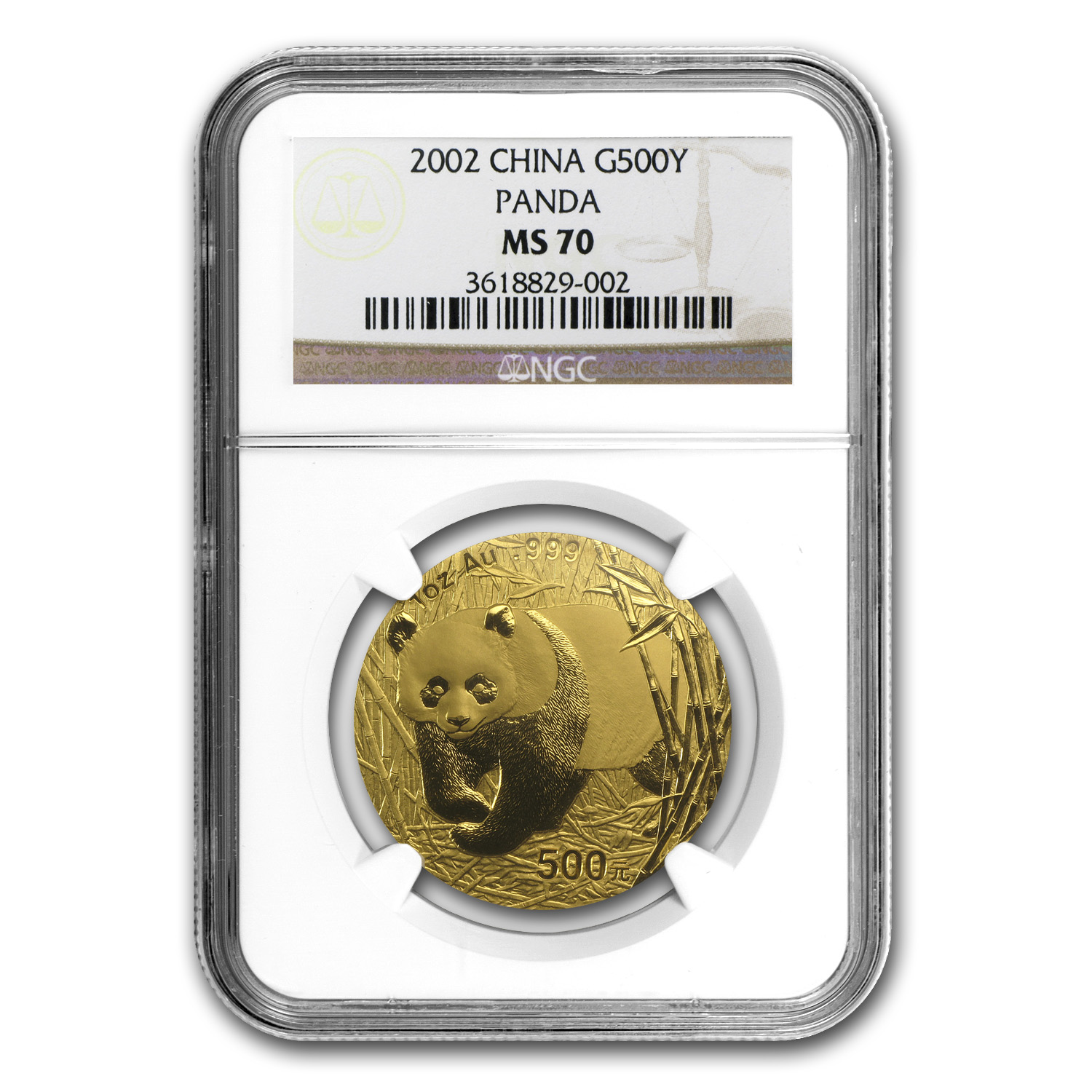 2002 China 1 oz Gold Panda MS-70 NGC