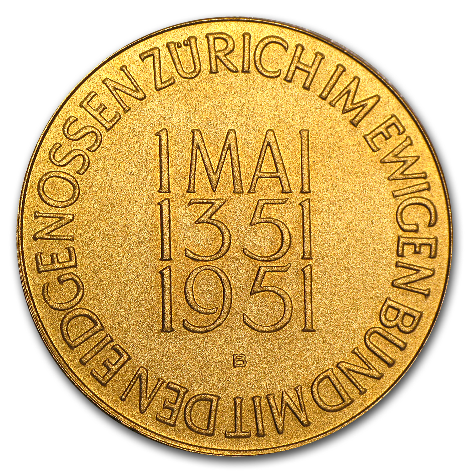 Switzerland 1951 Gold Medal (Zurich) AGW 0.793