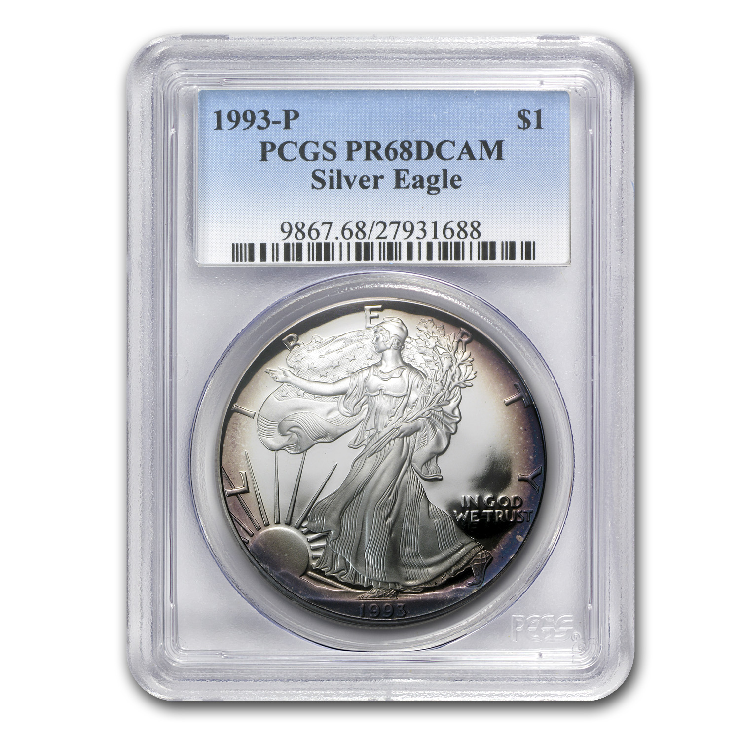 1 oz Proof Silver American Eagle PR-68 PCGS Toned (Random Year)