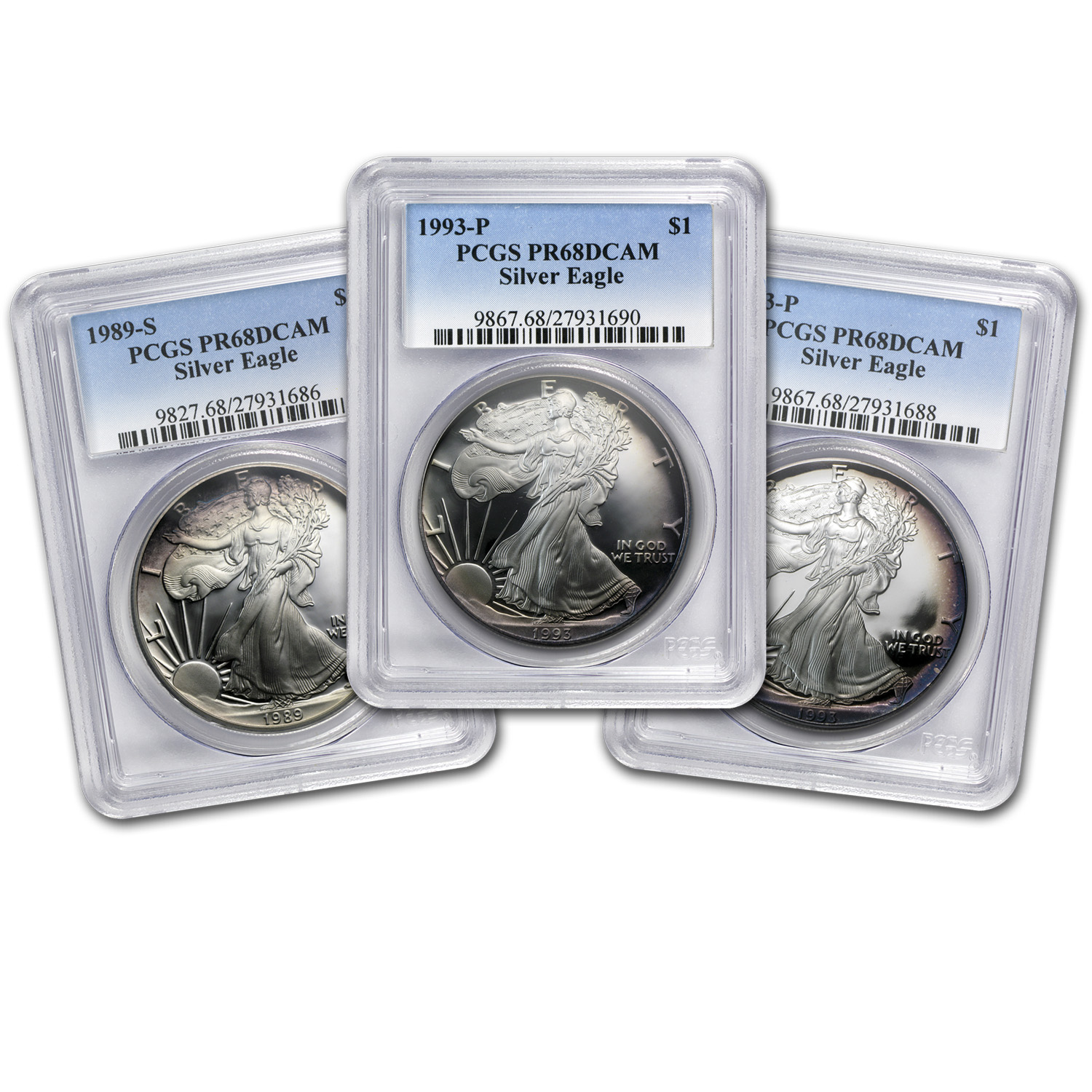 1 oz Proof Silver American Eagle PR-68 PCGS (Random Year, Toned)