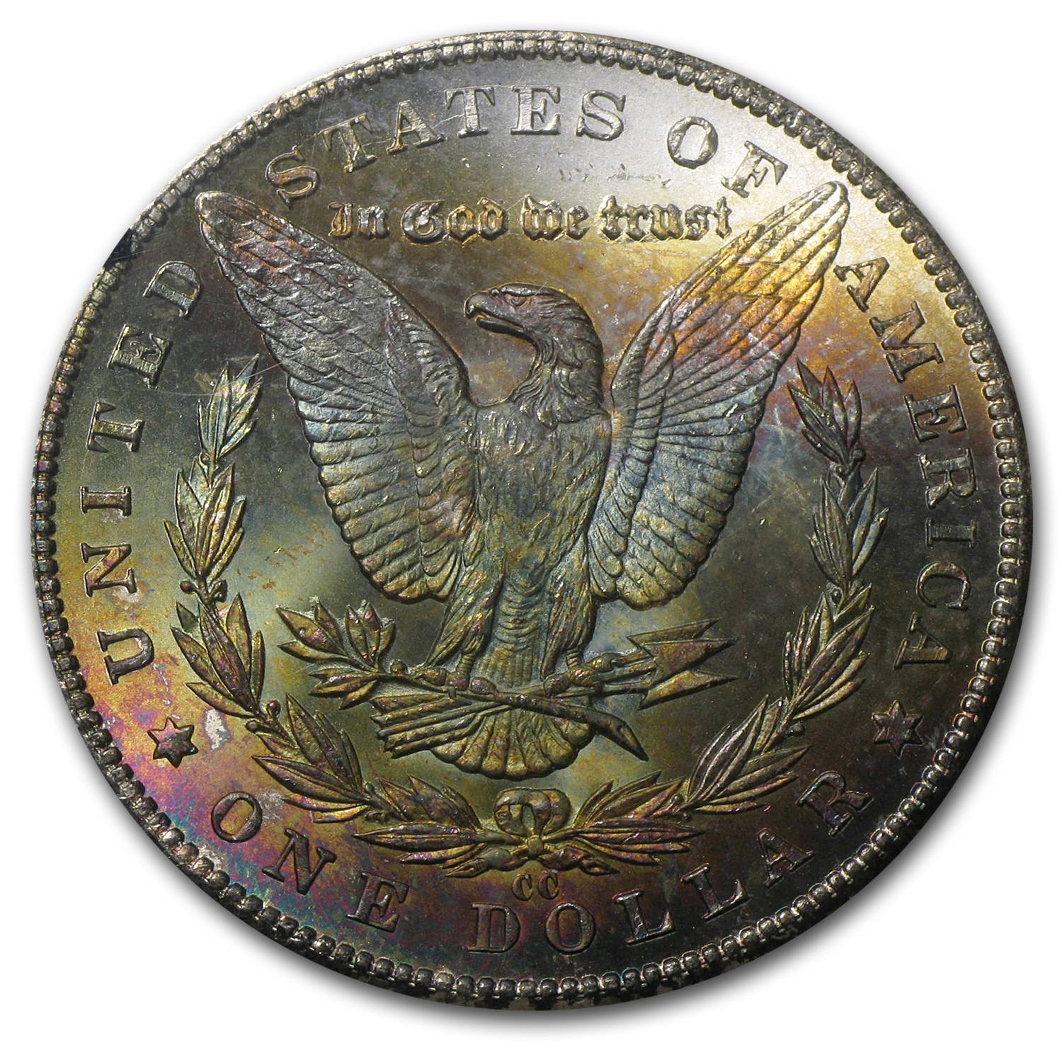 1884-CC Morgan Dollar MS-64 PCGS (Rainbow Rev, GSA Certified)