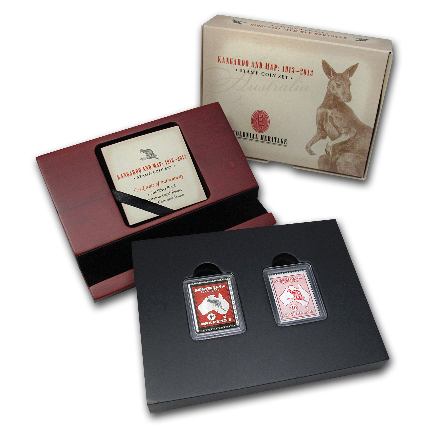 2013 2-Piece 1/2 oz Silver Kangaroo & Map Stamp & Coin Set