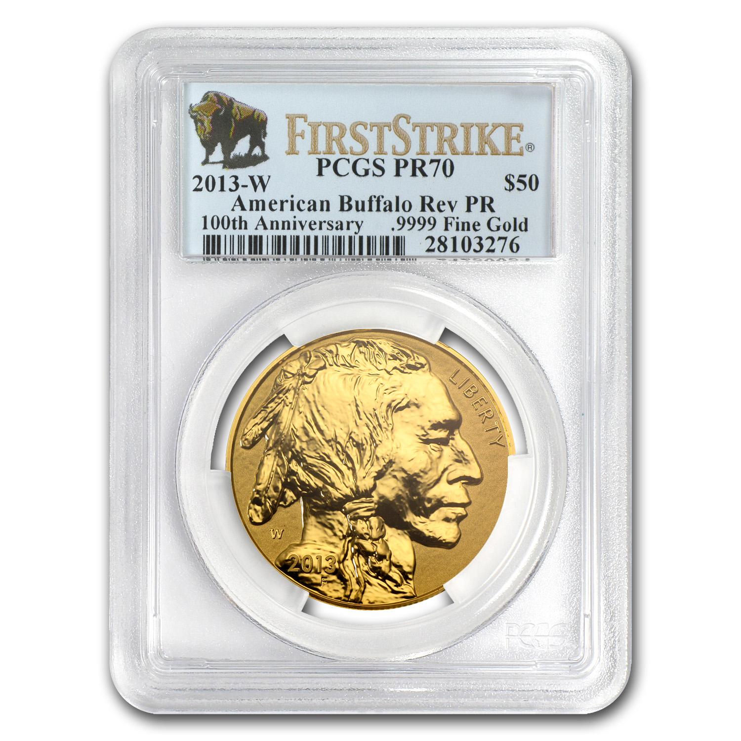 2013-W 1 oz Reverse Proof Gold Buffalo PR-70 PCGS (First Strike)