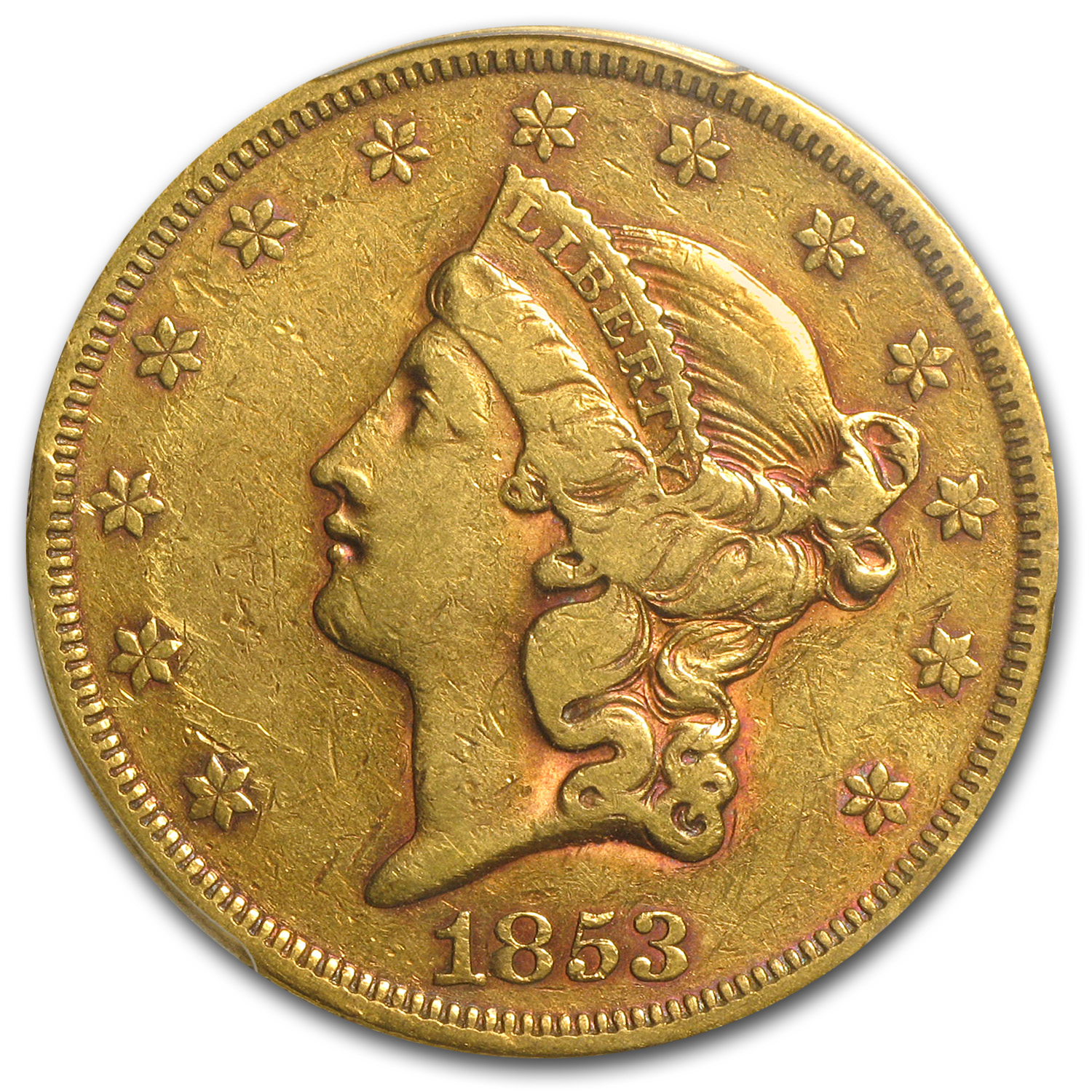 1853 $20 Gold Liberty Double Eagle - VF-35 PCGS