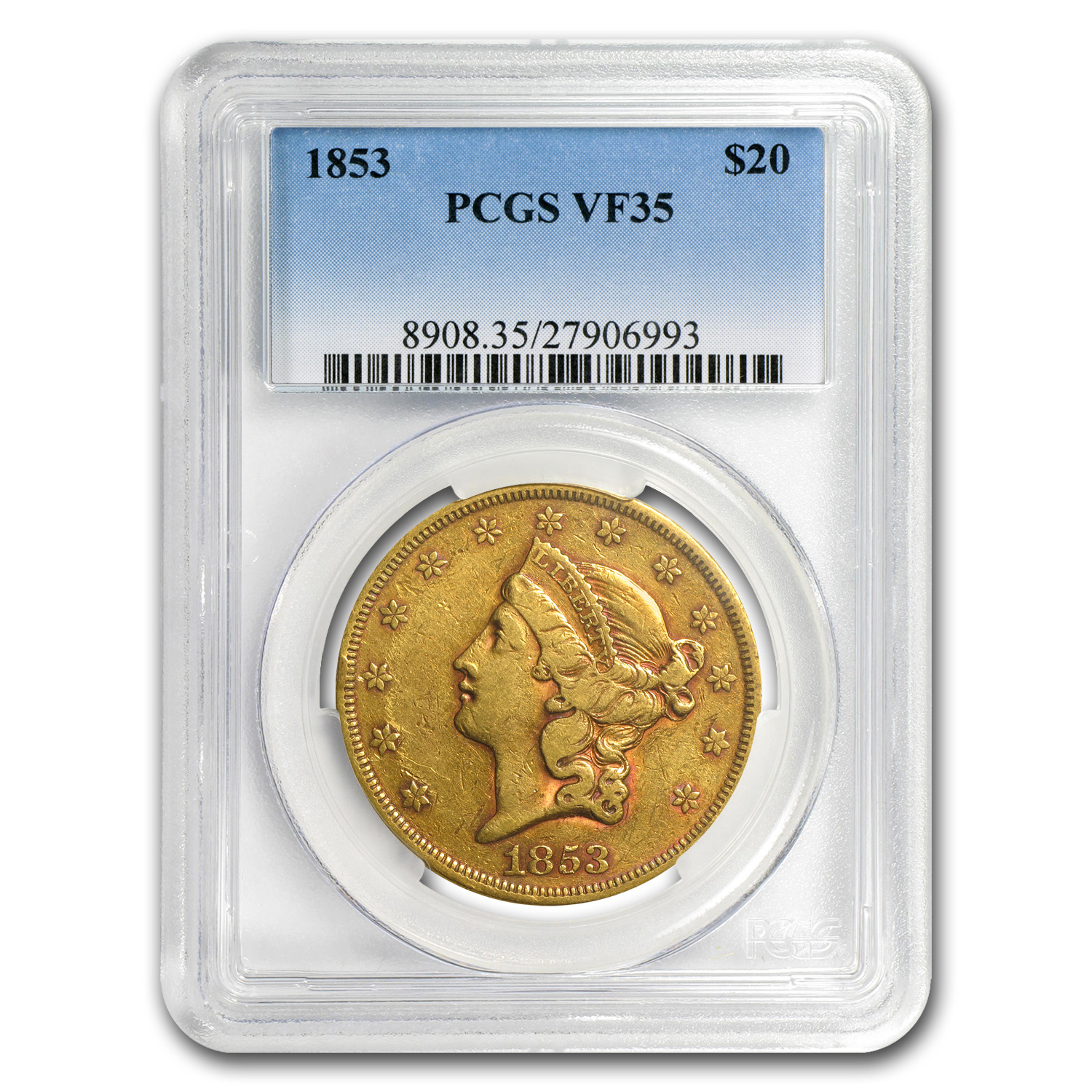 1853 $20 Gold Liberty Double Eagle VF-35 PCGS