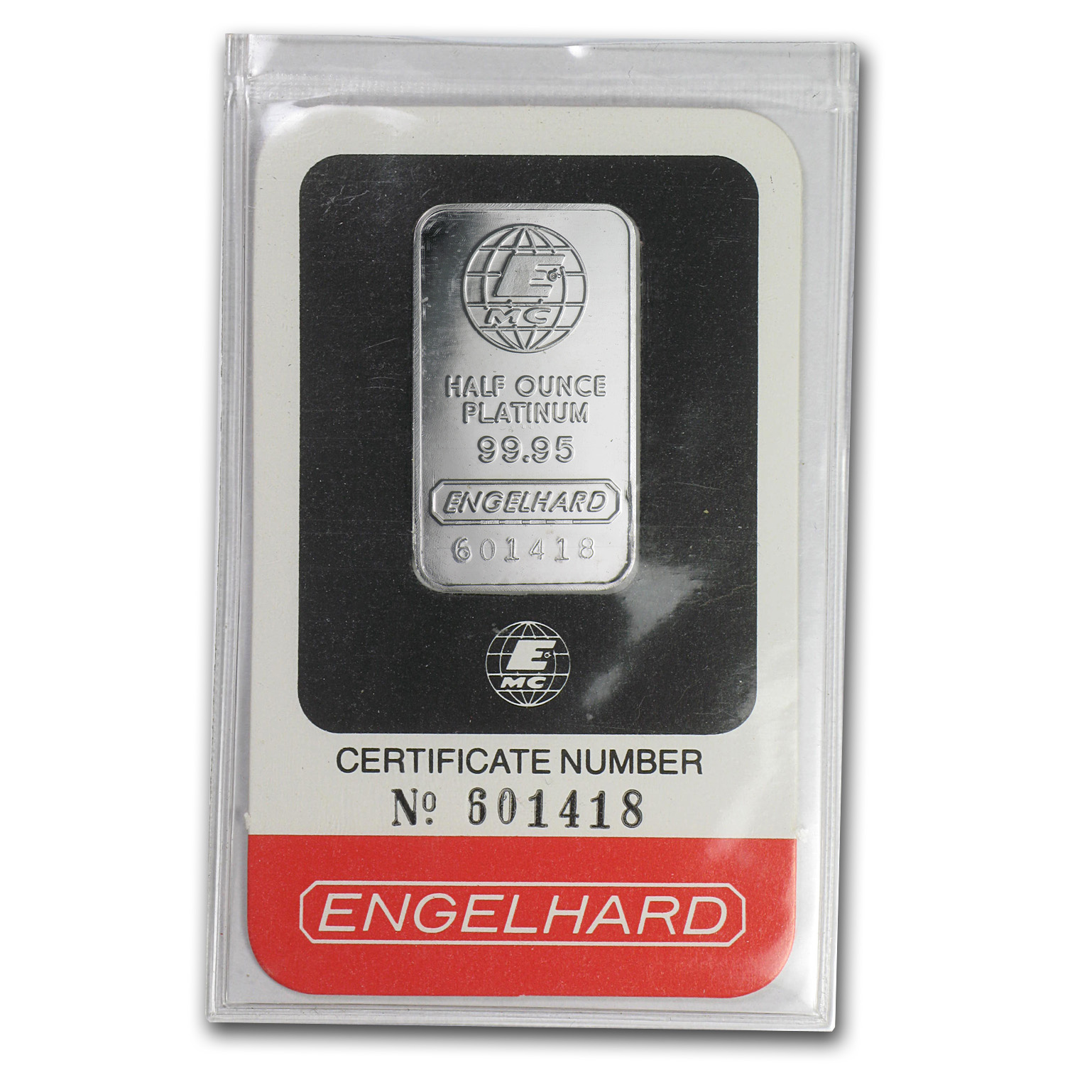 1/2 oz Engelhard Platinum Bar (.9995 Fine, In Assay)