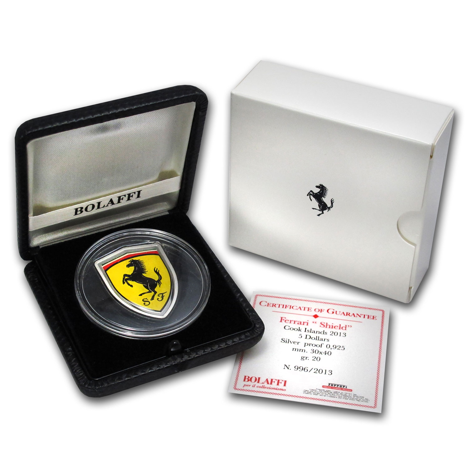 "2013 Cook Islands Silver $5 Ferrari ""Shield"" Coin"