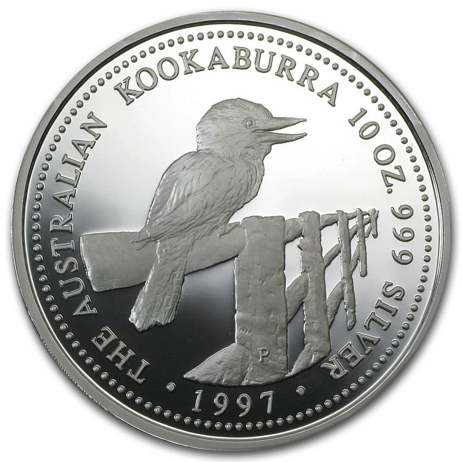 1997 Australia 10 Oz Silver Kookaburra Proof Perth Mint