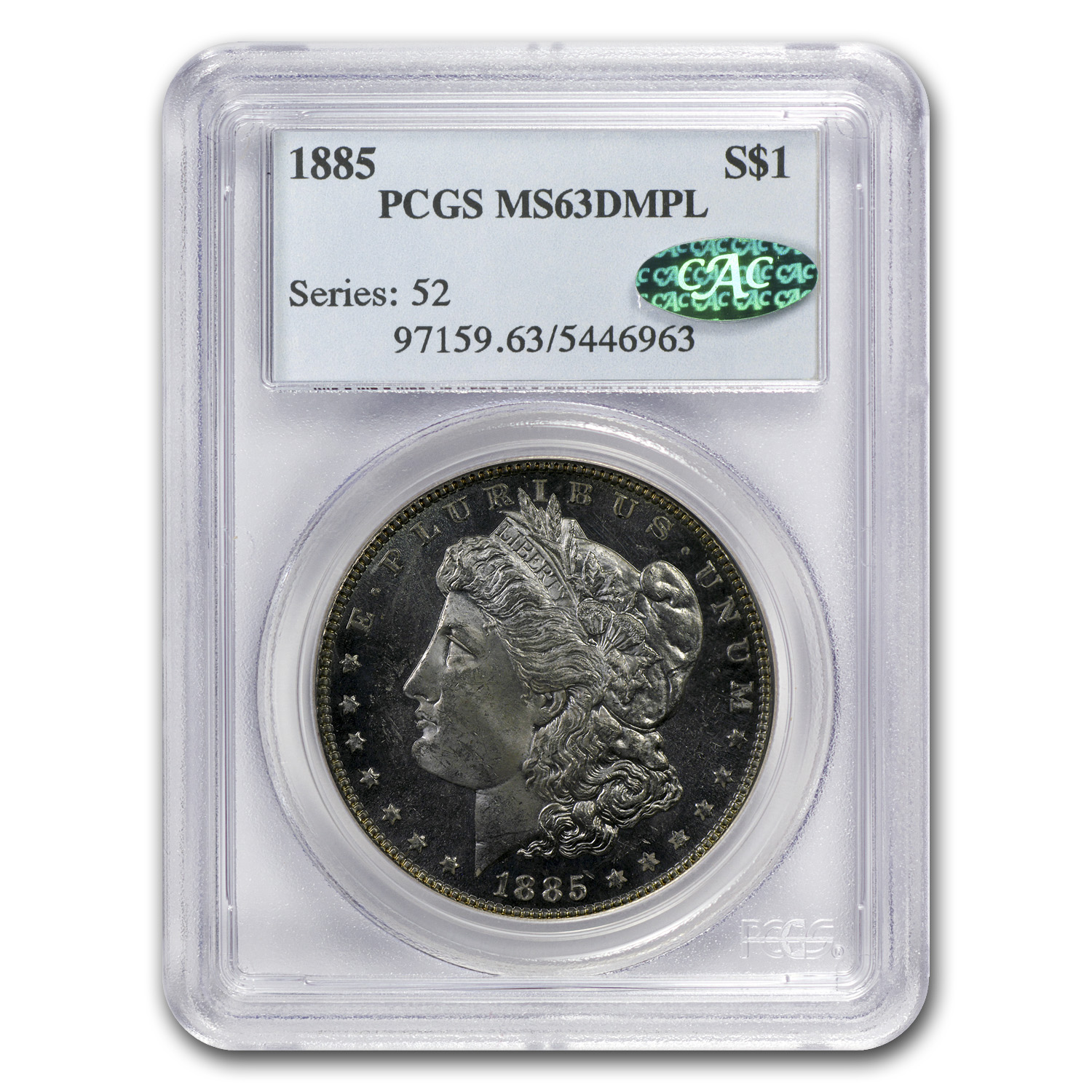 1885 Morgan Dollar MS-63 DMPL PCGS (CAC)