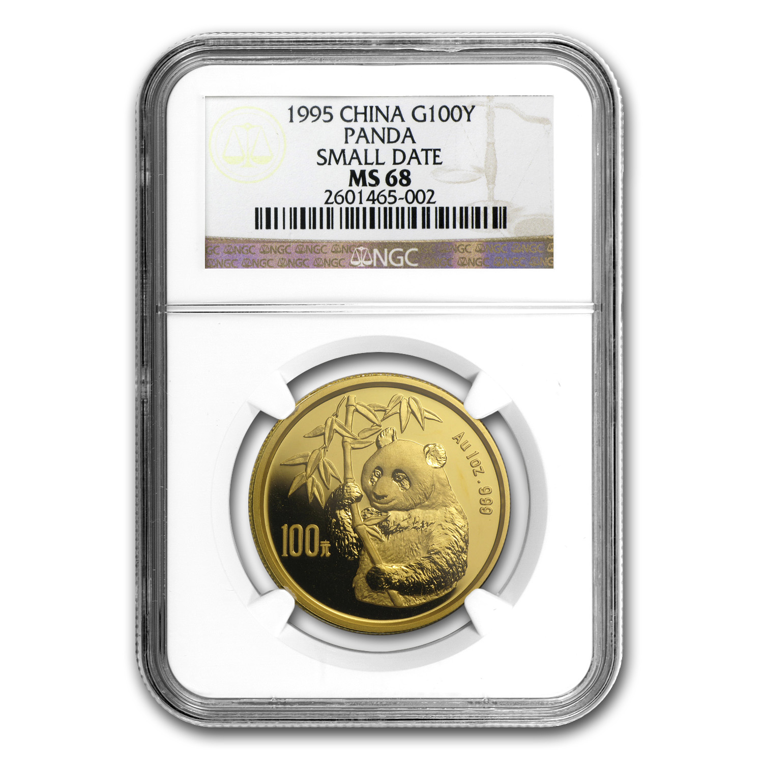 1995 1 oz Gold Chinese Panda MS-68 NGC - Small Date