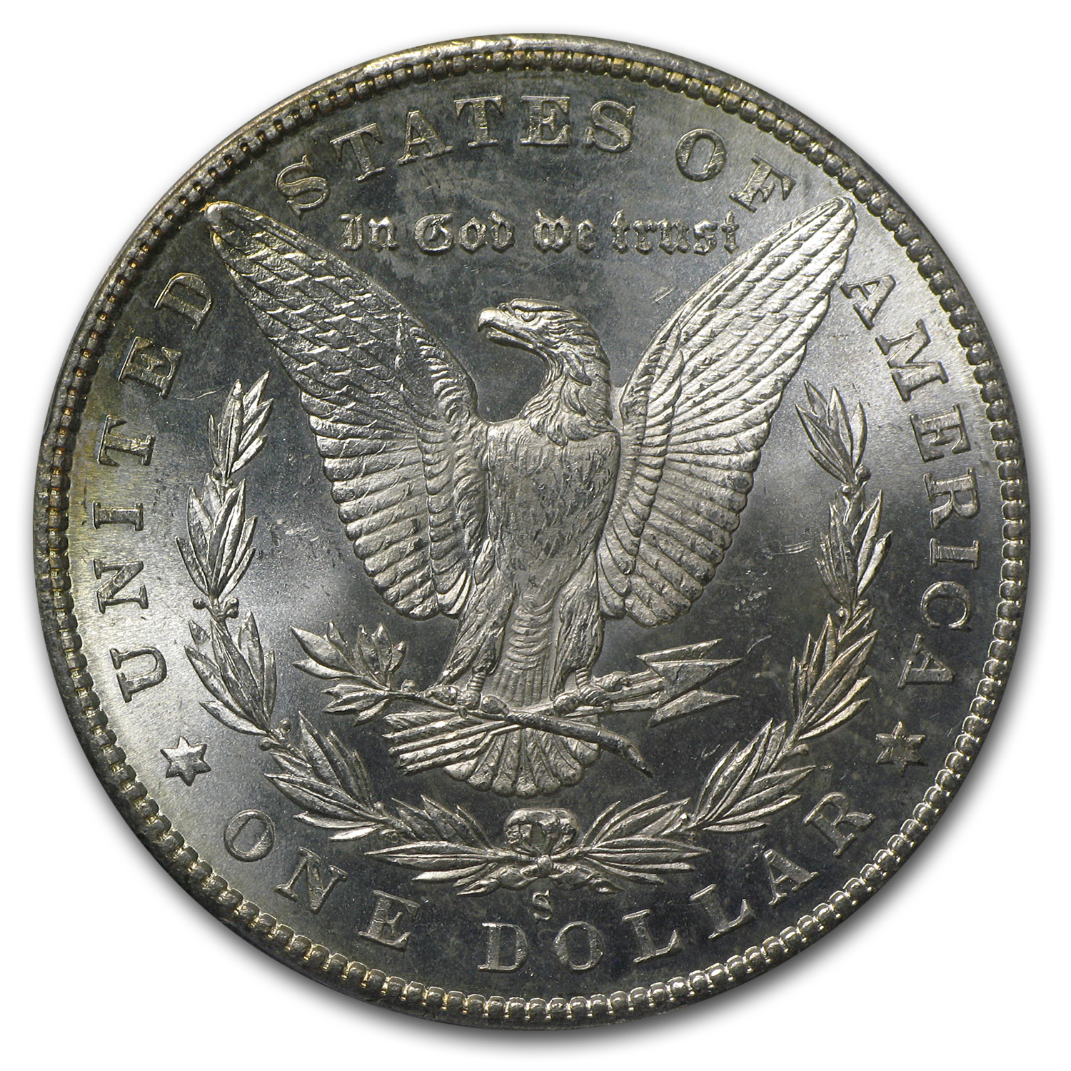 1880-S Morgan Dollar MS-63 PCGS (CAC, Blue Obv Toning)