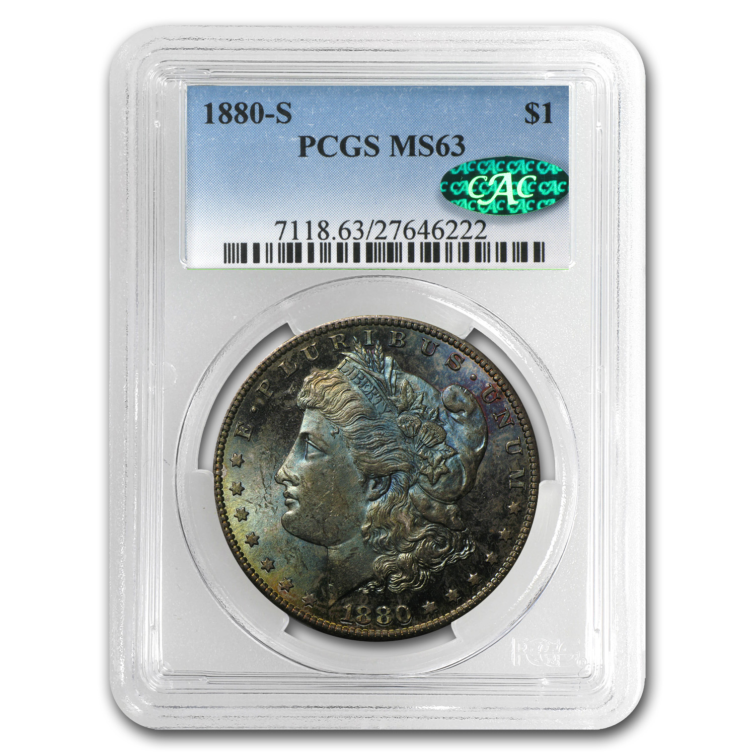 1880-S Morgan Dollar - MS-63 PCGS - Blue Obverse Toning CAC