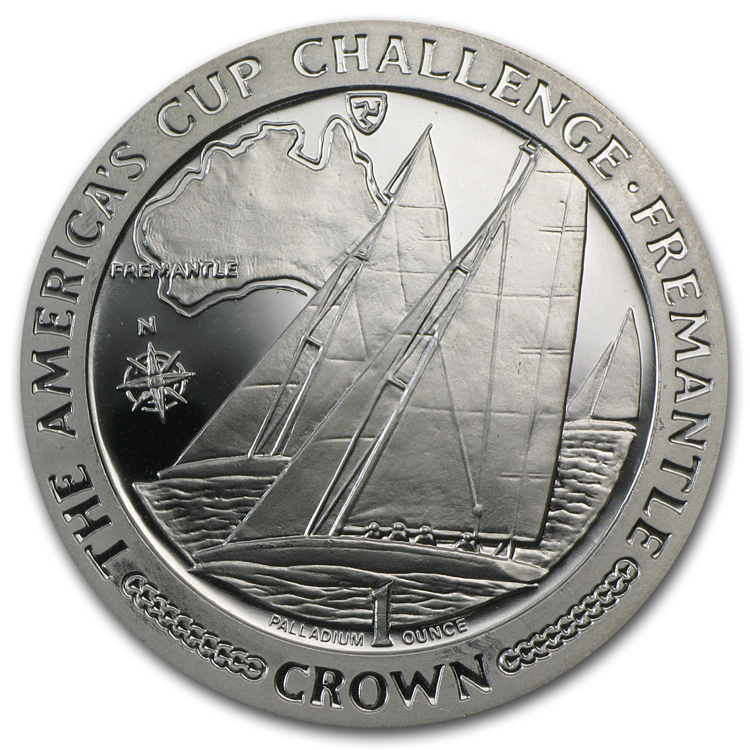 1987 Isle of Man 1 oz Proof Palladium America's Cup Challenge