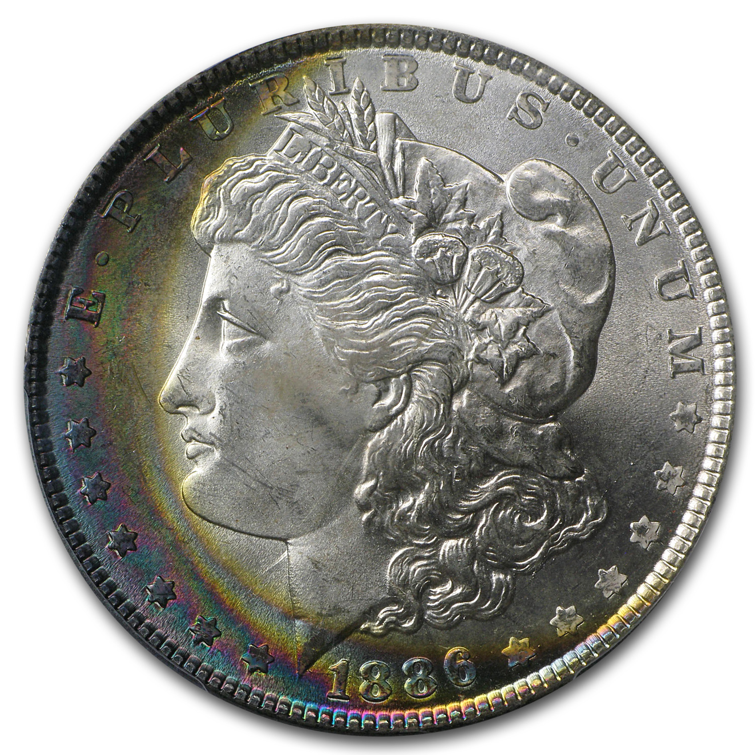 1886 Morgan Dollar MS-64+ Plus PCGS Beautiful Crescent Toning