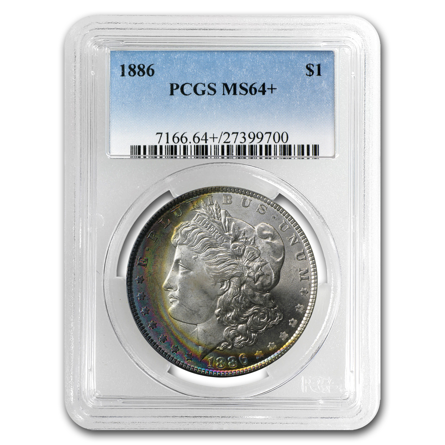 1886 Morgan Dollar MS-64+ Plus PCGS (Crescent Toning)