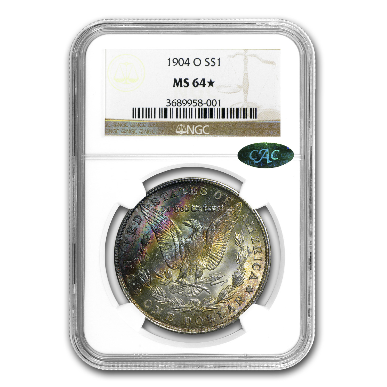 1904-O Morgan Dollar MS-64* Star NGC Beautiful Obverse Toning CAC