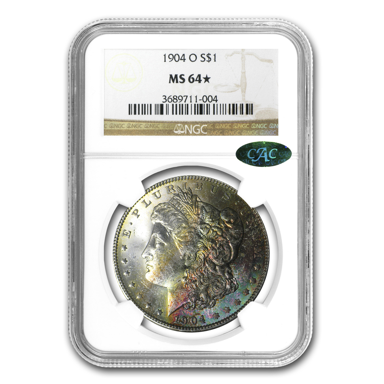 1904-O Morgan Dollar MS-64* Star NGC (Beautiful Obv Colors, CAC)