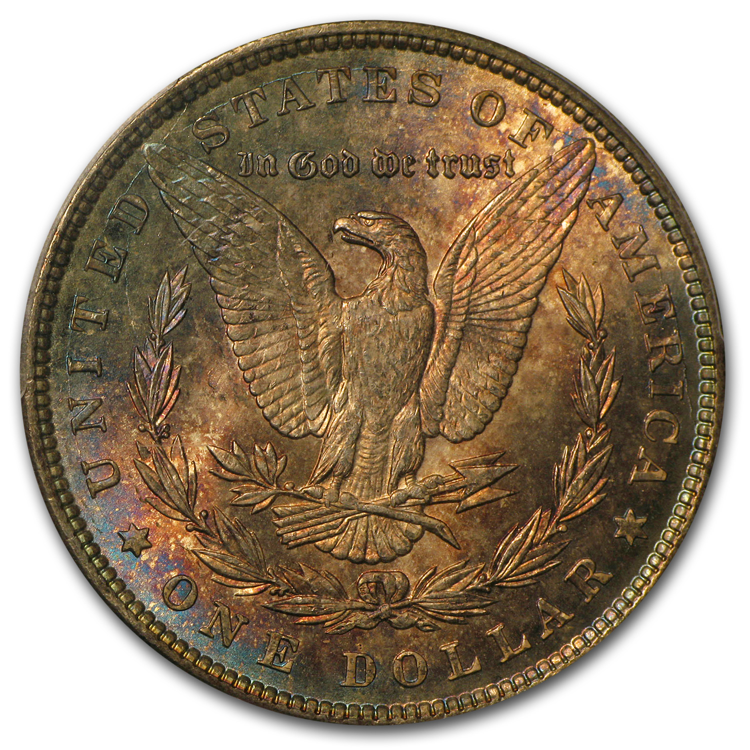 1897 Morgan Dollar MS-65 PCGS (Blue & Pink Toning, CAC)