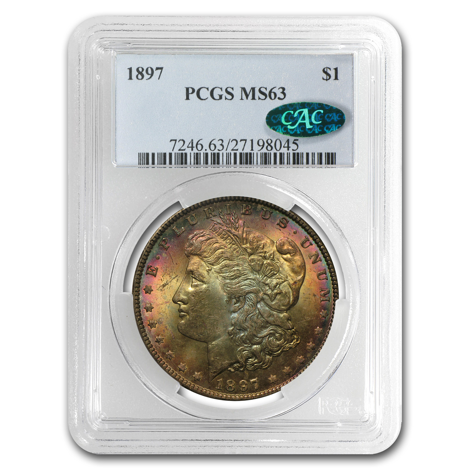 1897 Morgan Dollar MS-63 PCGS (CAC, Beautiful Toning)