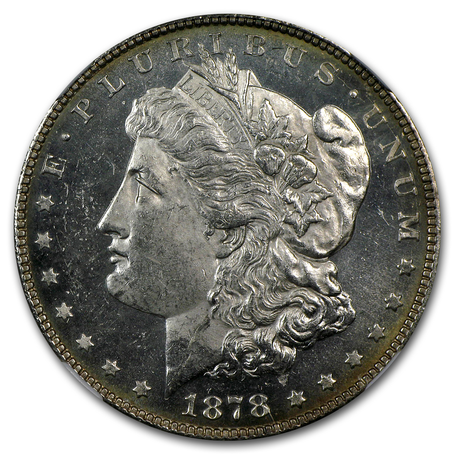 1878 Morgan Dollar 7 TF Rev of 78 MS-63 PL Proof Like NGC
