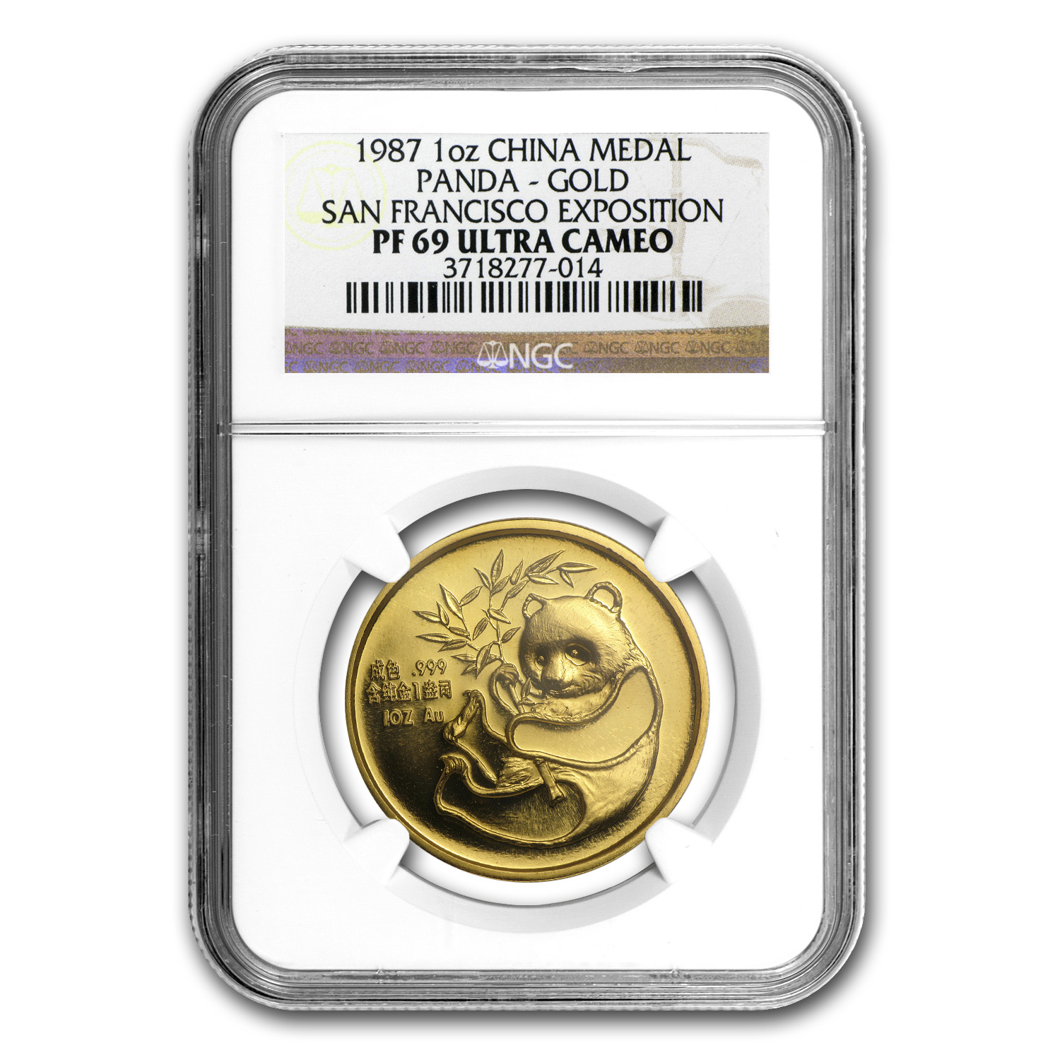1987 China 1 oz Gold Panda PF-69 NGC (San Francisco Coin Expo)