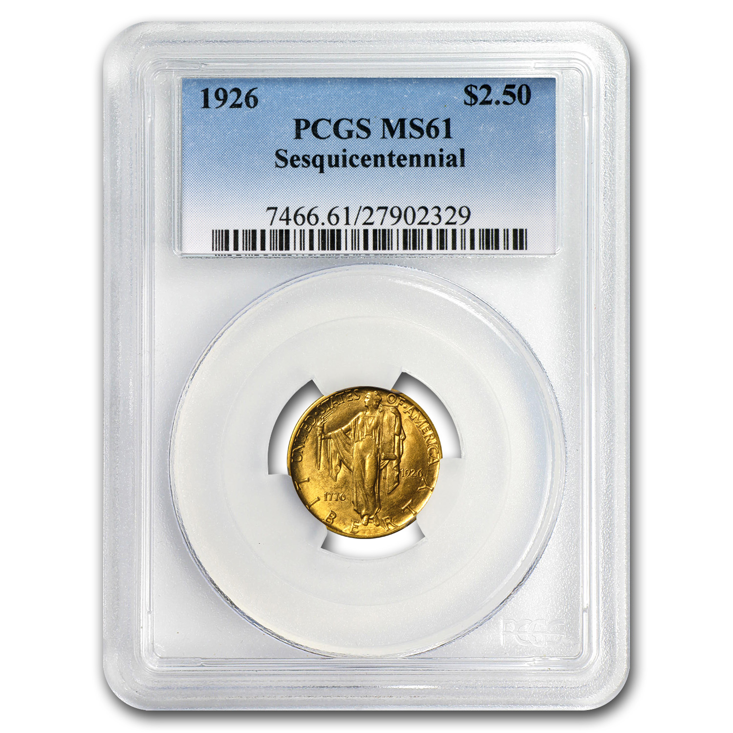 1926 Gold $2.50 America Sesquicentennial MS-61 PCGS