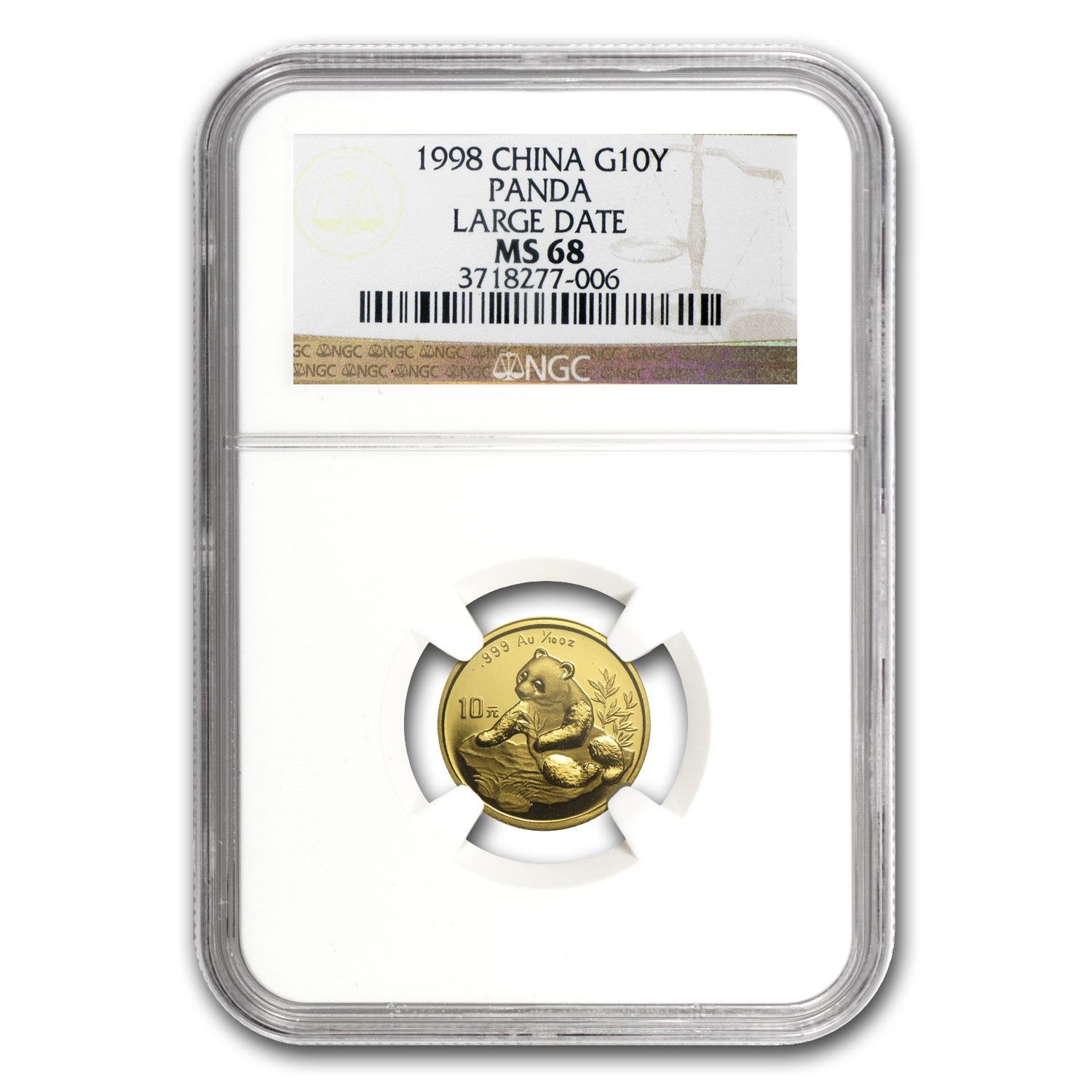 1998 China 1/10 oz Gold Panda Large Date MS-68 NGC