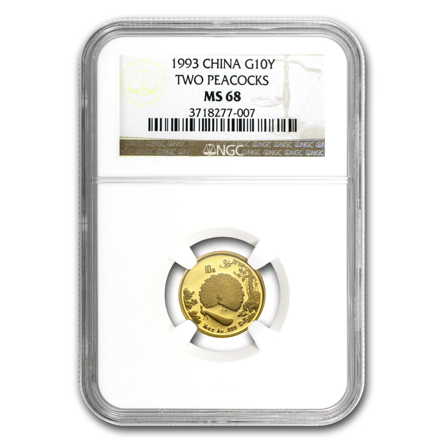 1993 China 1/10 oz Gold 10 Yuan Peacock MS-68 NGC