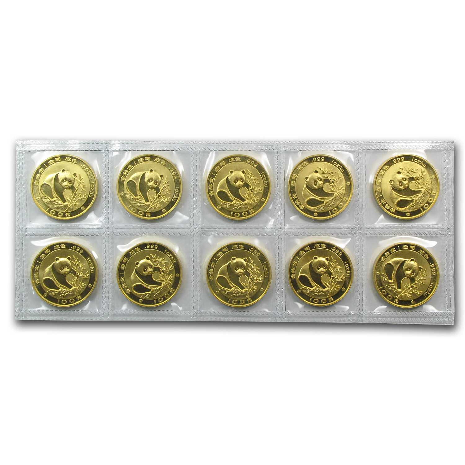 1988 China 1 oz Gold Panda BU (Sealed Sheet of 10)