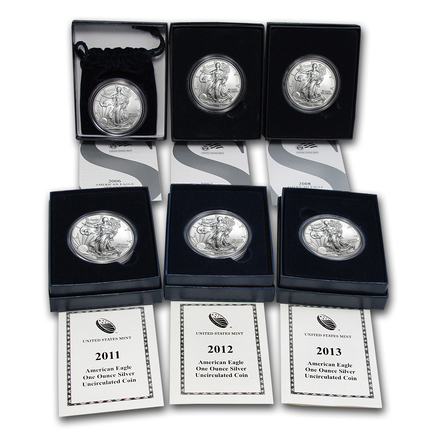 2006-2013 6-Coin Burnished Silver Eagle Set (w/Box & COA)