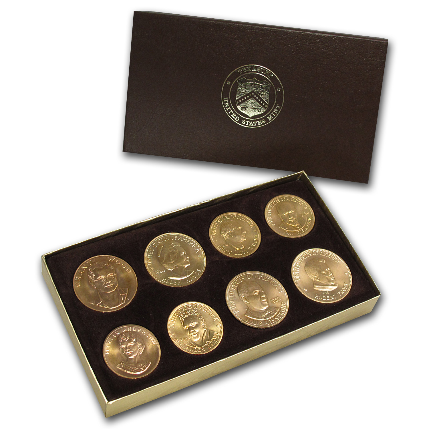 U.S. Mint 8-Coin 1/2 oz & 1 oz Gold Commem Arts Medallion Set