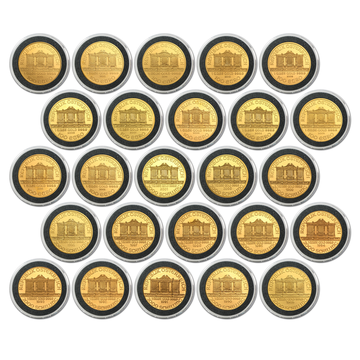 1989-2013 Austria 25-Coin 1 oz Gold Philharmonic Set BU