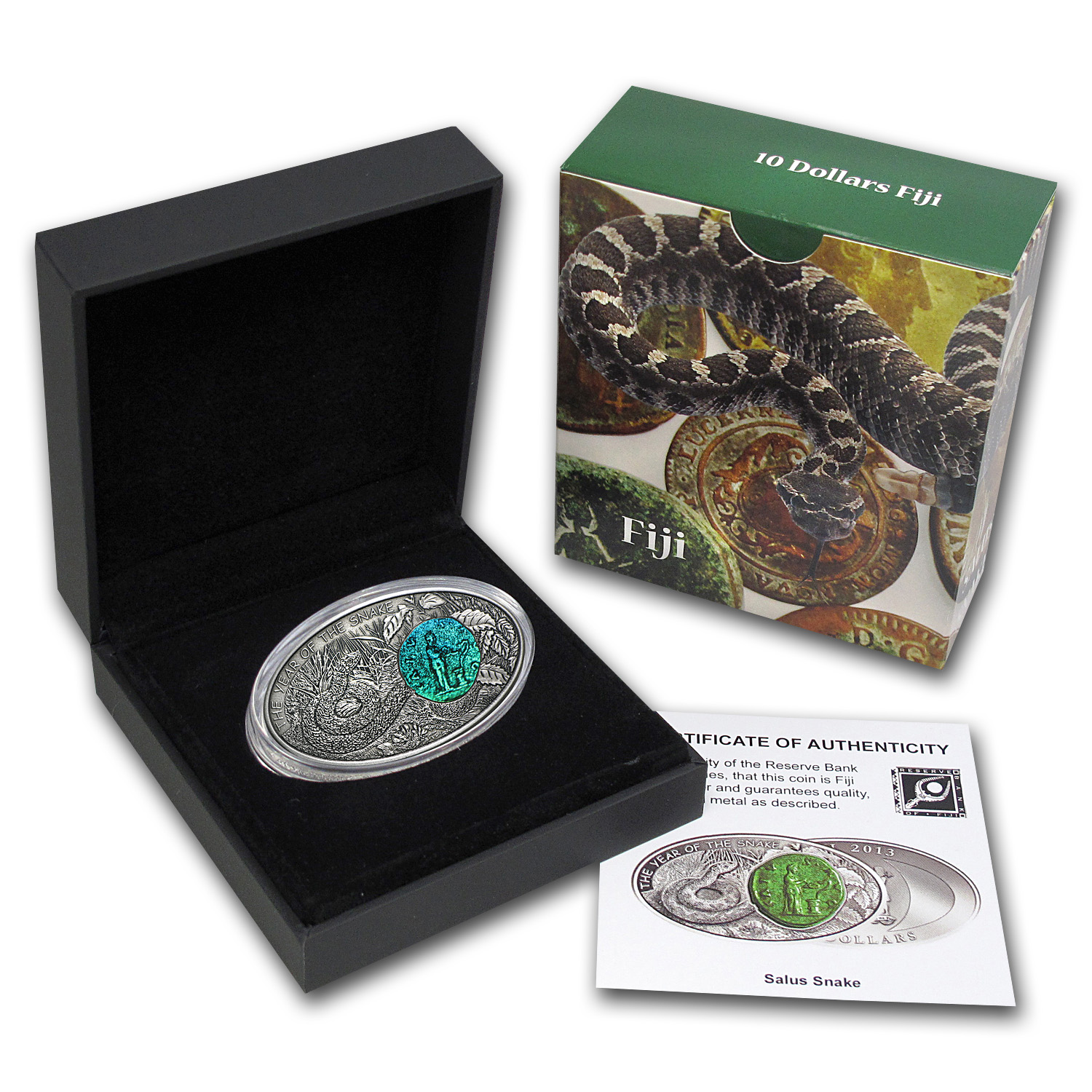 2013 Fiji Silver $10 Year of the Snake Salus Snake