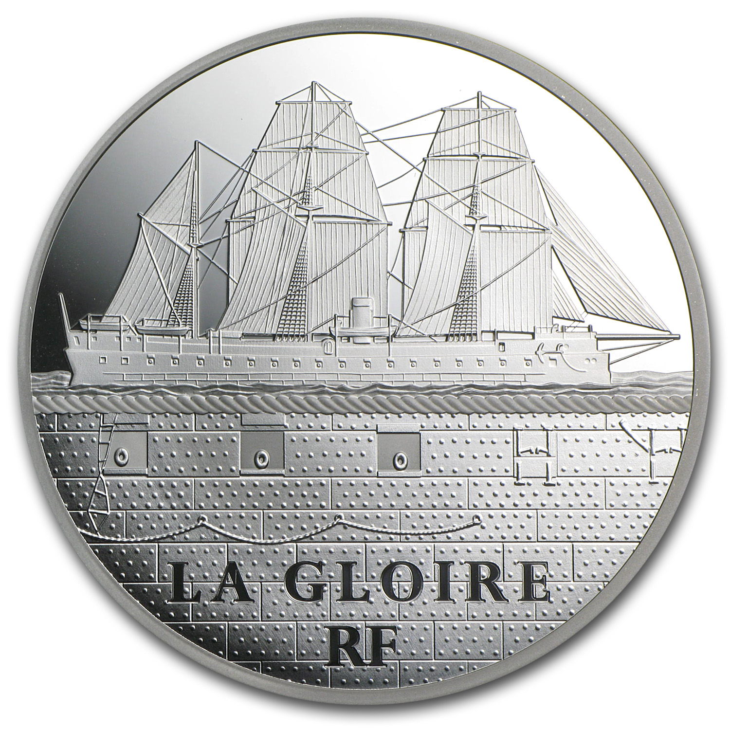 2013 5 oz Silver €50 Great French Ships Proof (La Gloire)