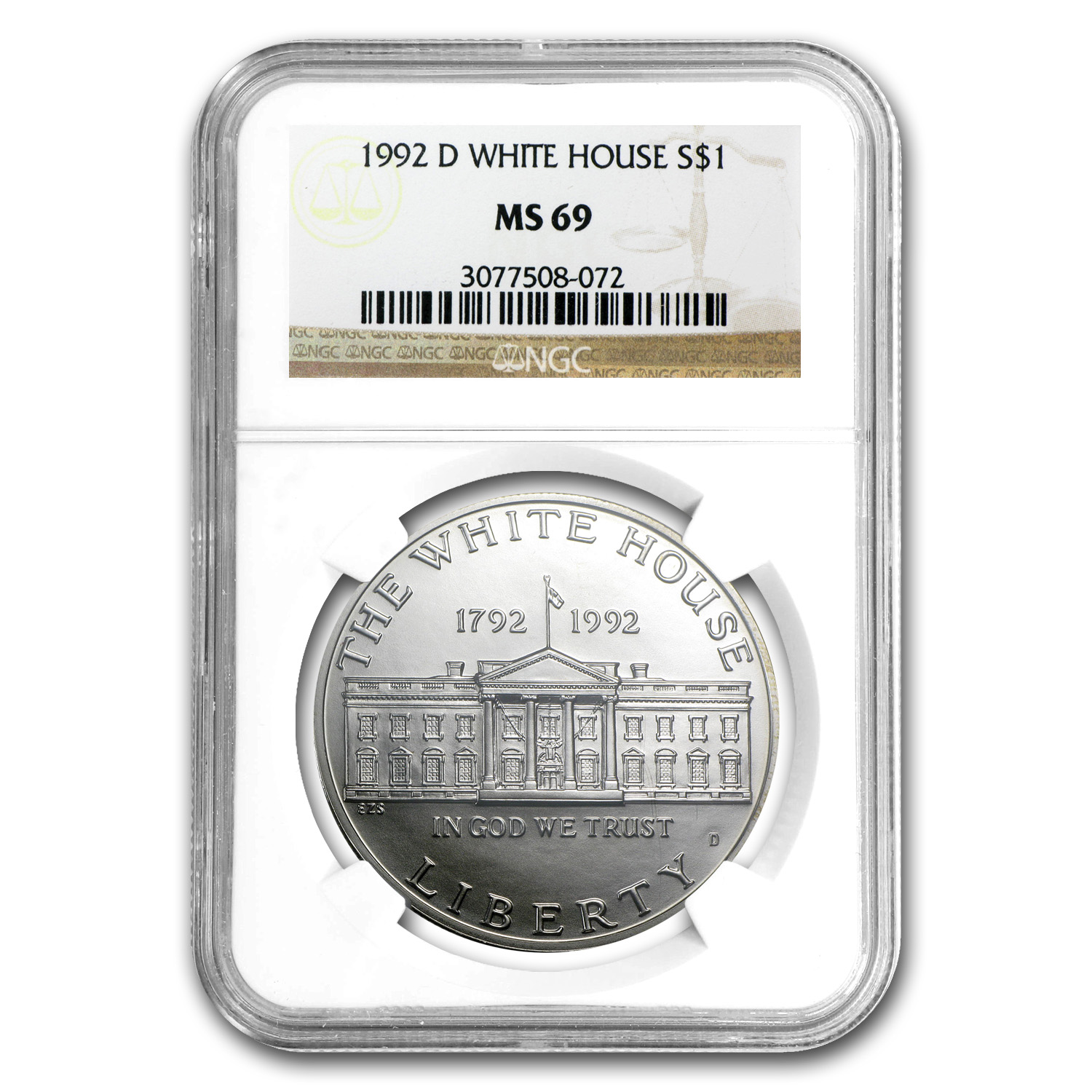 1992-D White House $1 Silver Commem MS-69 NGC