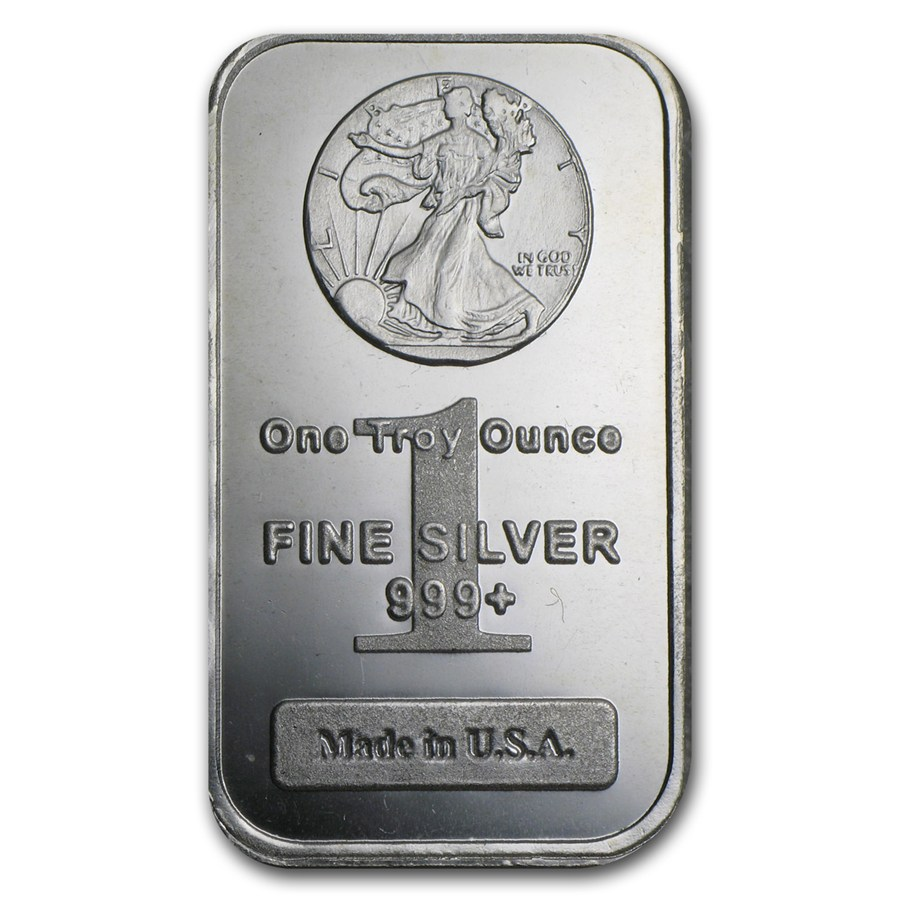 1 Oz Silver Bar Walking Liberty Design 1 Oz Silver