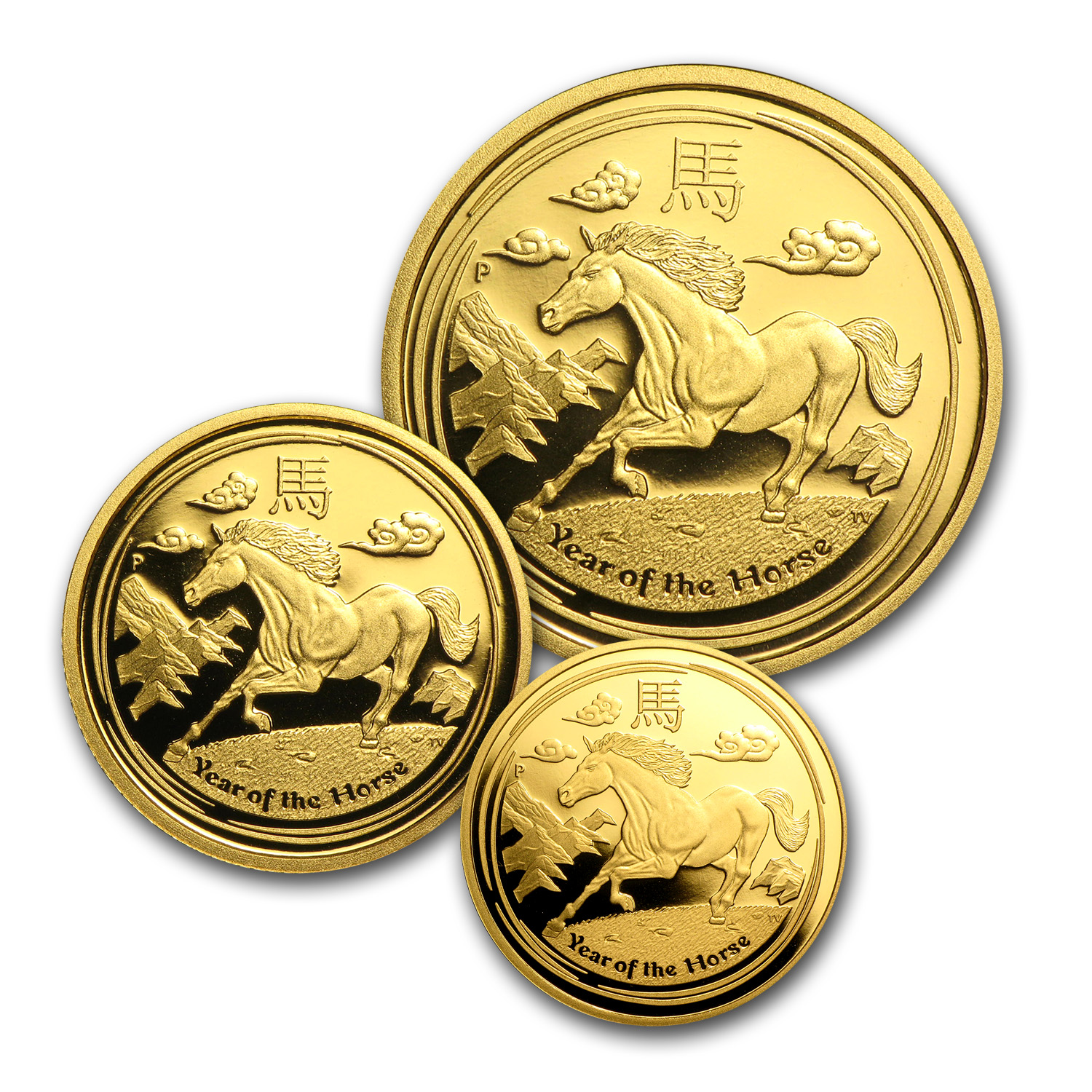 2014 3-Coin Gold Year of the Horse Proof Set (SII)