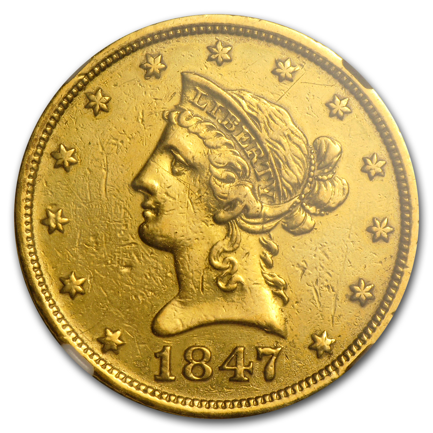 1847-O $10 Liberty Gold Eagle AU Details NGC (Polished)