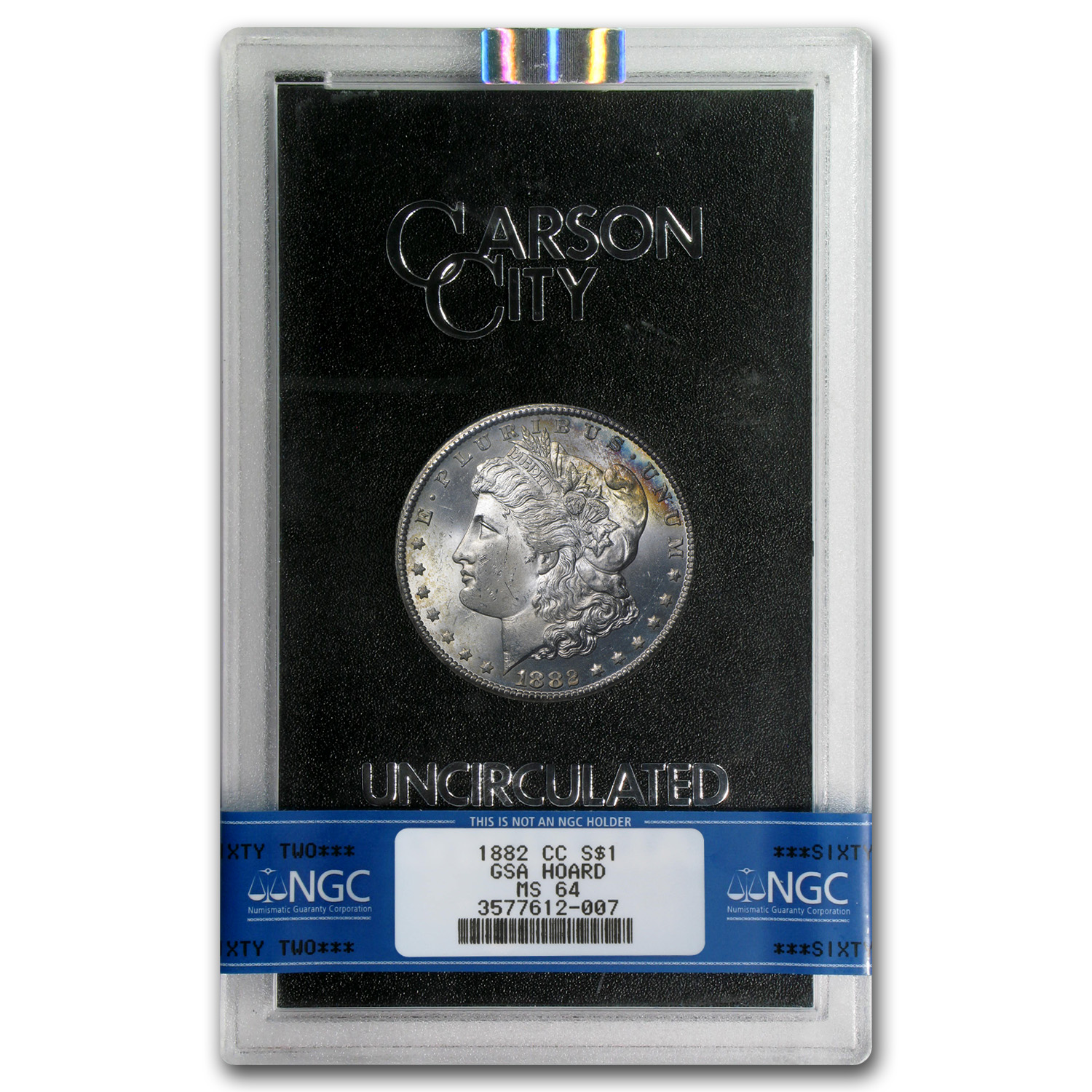 1882-CC Morgan Dollar MS-64 NGC (GSA, Rainbow Rev)