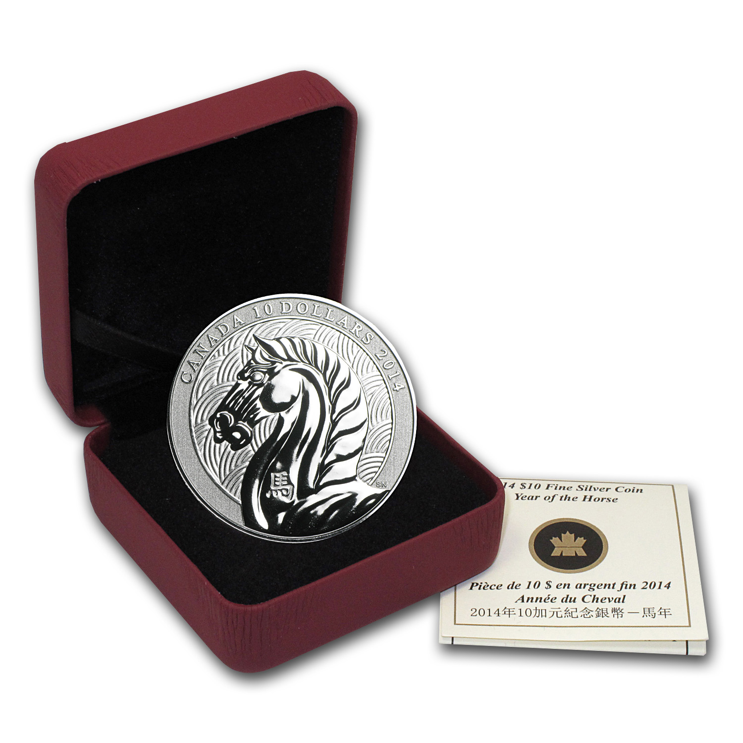 2014 Canada 1/2 oz Silver $10 Year of the Horse (w/Box & COA)