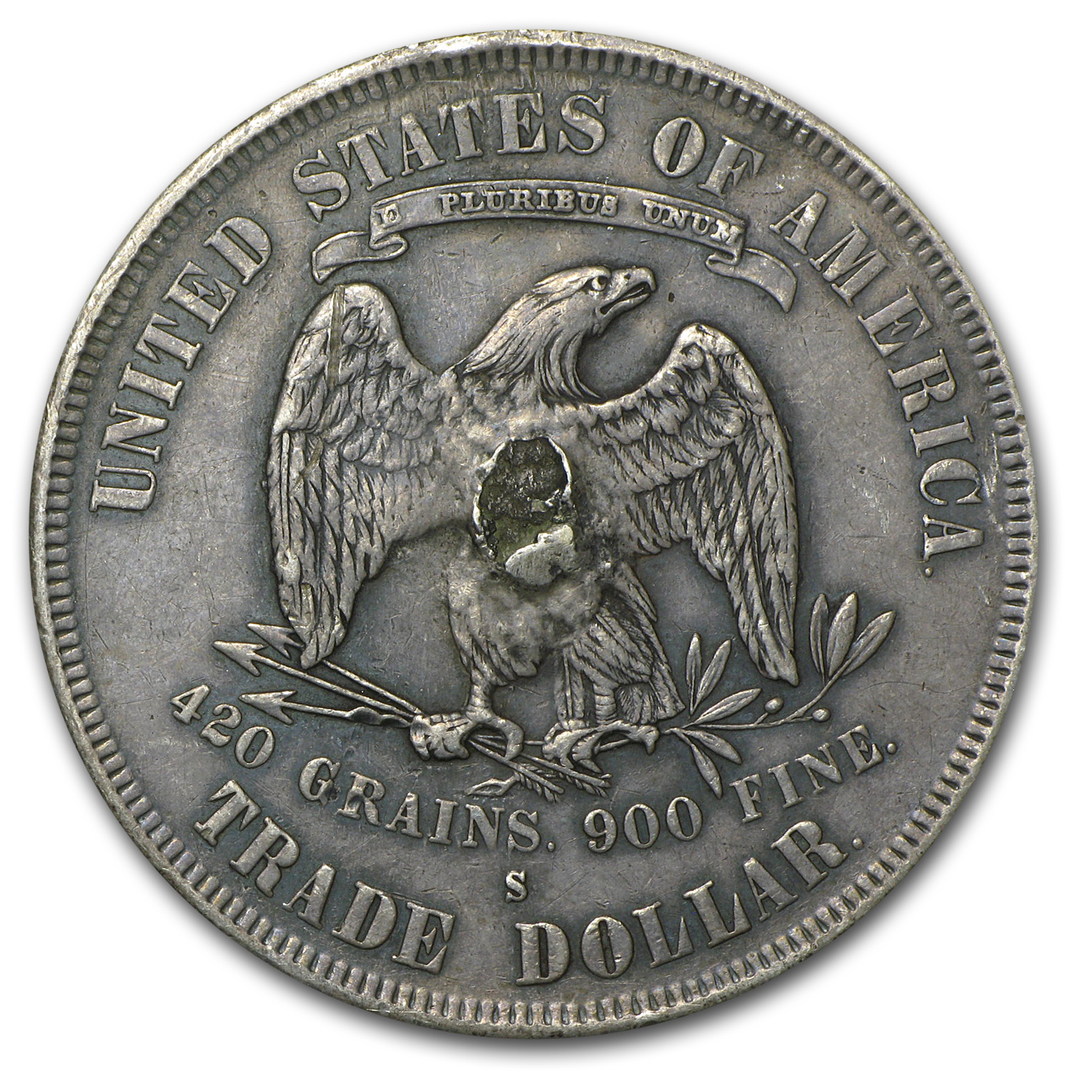 1877-S Trade Dollar XF Details (Reverse Damaged)