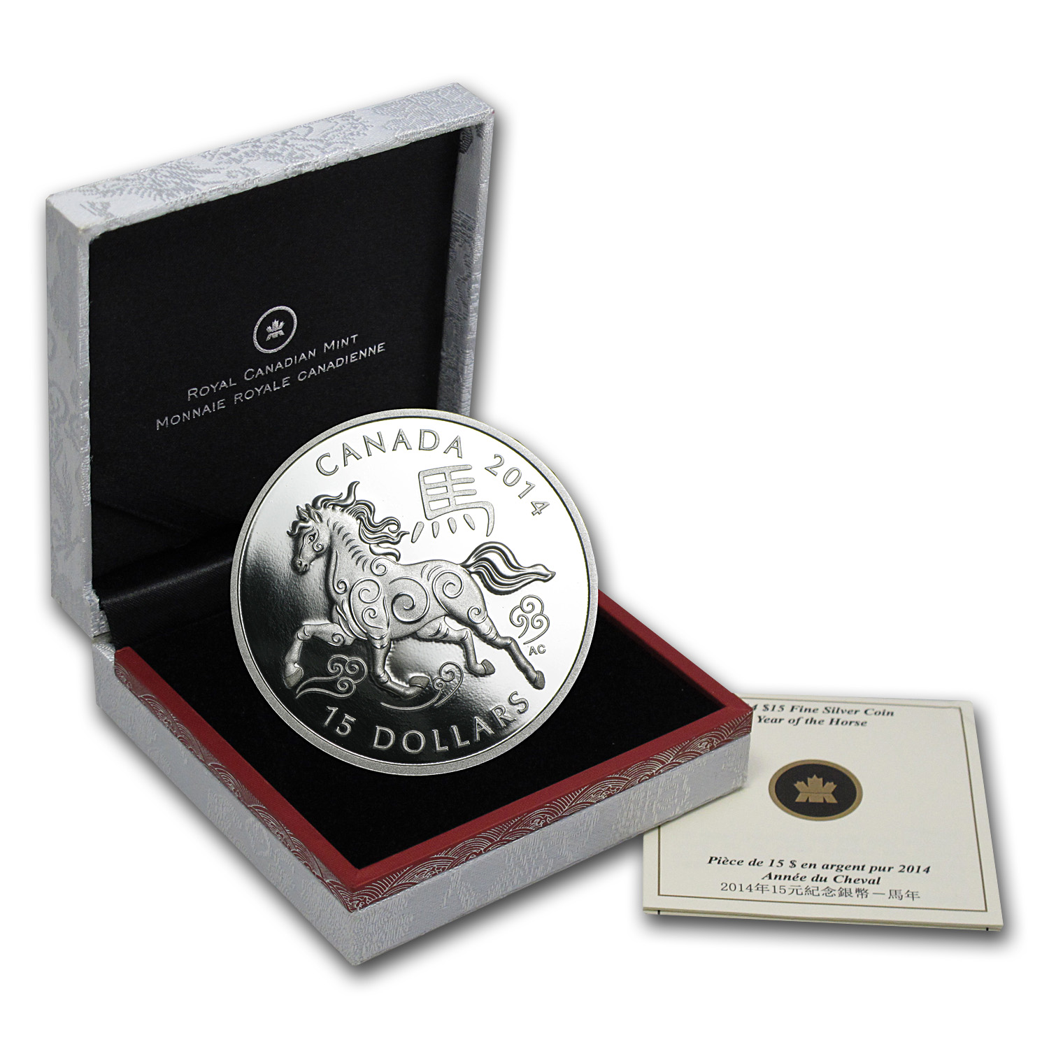 2014 1 oz Silver Canadian $15 Lunar Horse Proof (w/Box & COA)