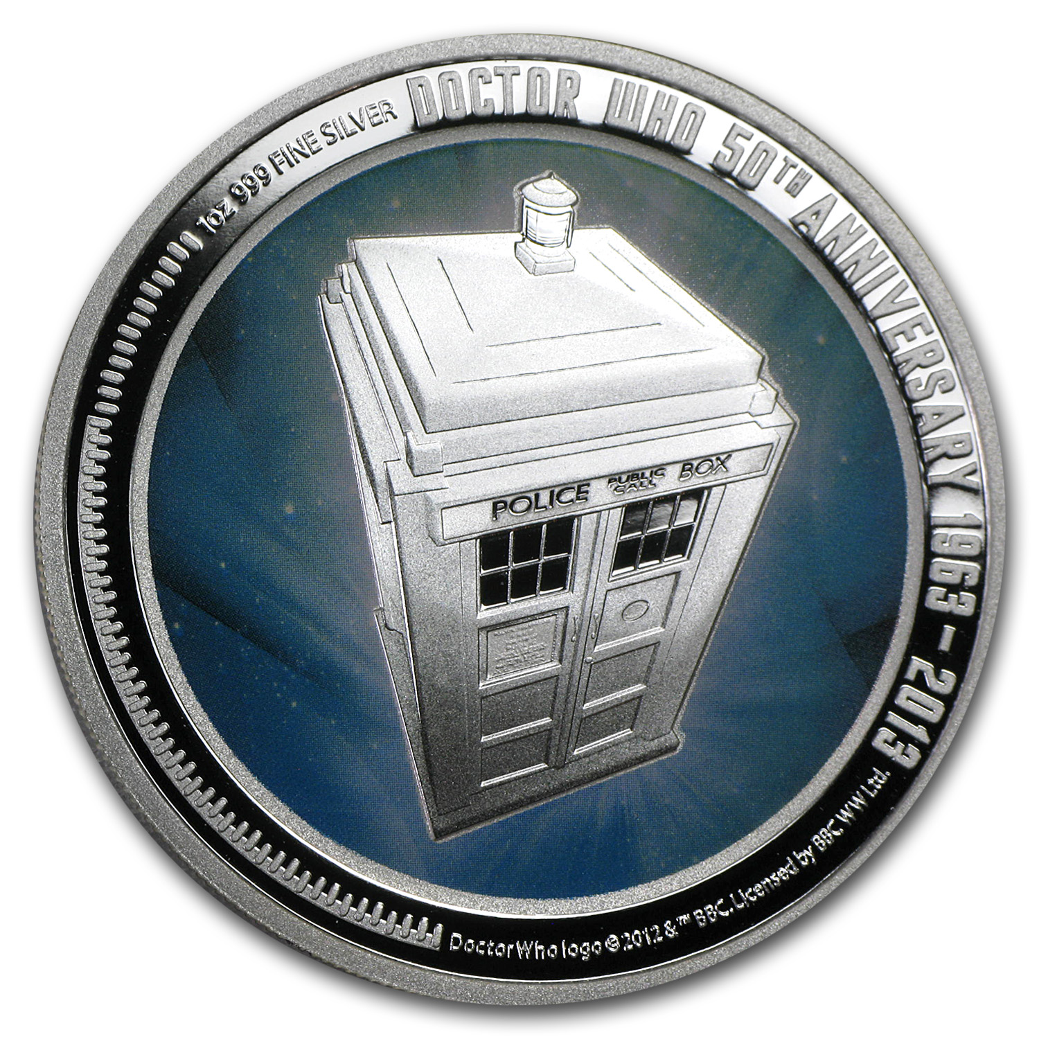 2013 1 oz Silver Niue $2 Doctor Who 50th Anniversary Proof
