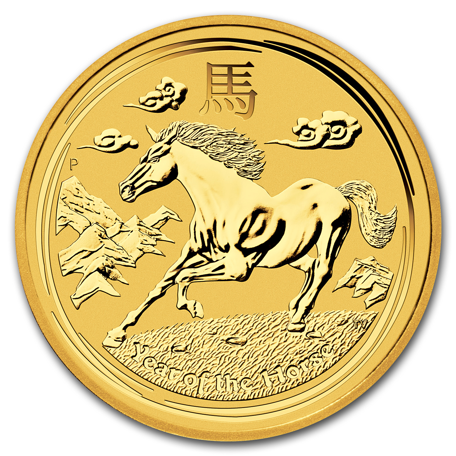 2014 Gold 1 kilo Lunar Year of the Horse BU (SII)